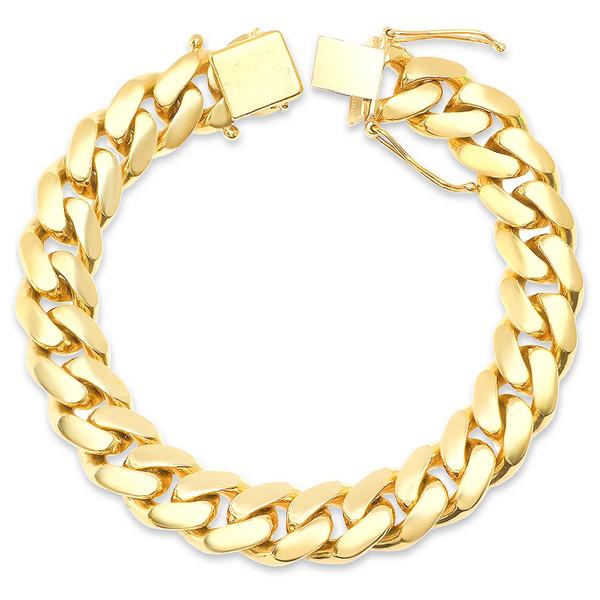 "11.5 mm Solid Miami Cuban Link Bracelet - 9"""