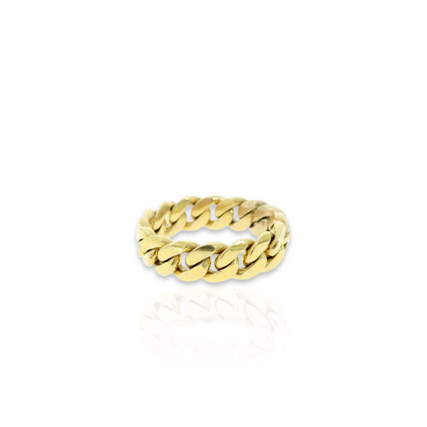 14kt Miami Cuban Link Ring - 6mm - Size 8