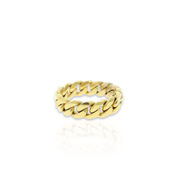 14kt Miami Cuban Link Ring - 6.5mm - Size 12