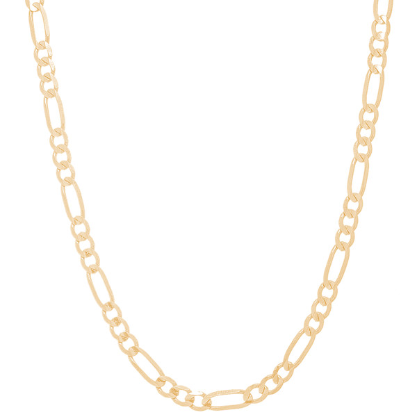 """4mm Solid Yellow Gold Figaro Chain - 24"""""""