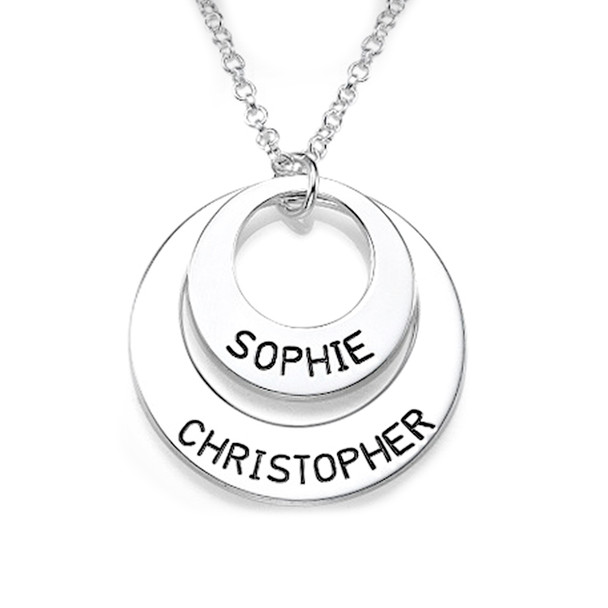 Silver Discs Name Necklace - 0.925 - ANS007