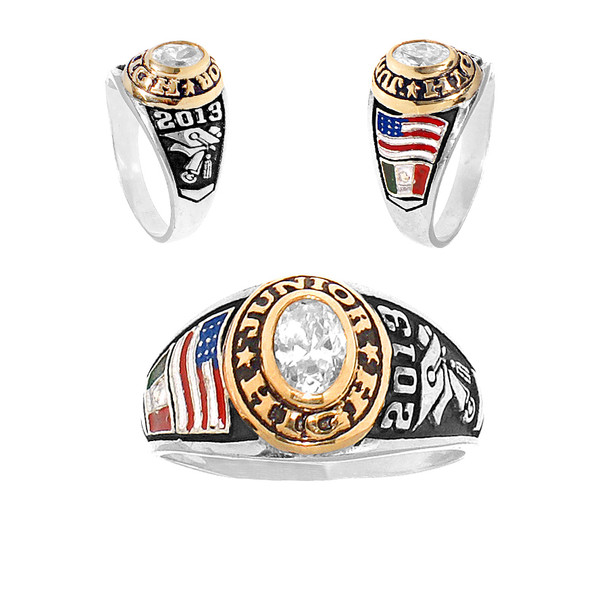 Junior High Graduation Ring / Silver - Gold  - 5.2 Gr - ORO-P04