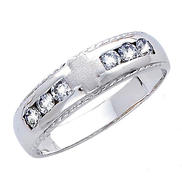 White gold wedding band with CZ. 14K  3.8 gr. - RG173