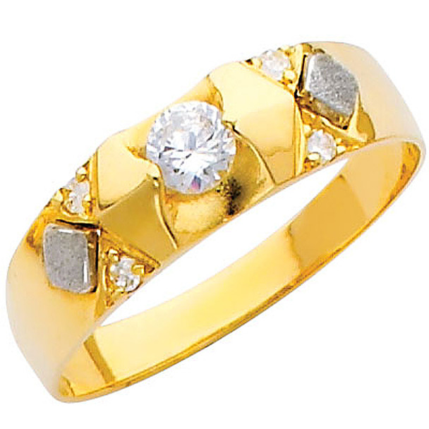 Yellow gold wedding band with CZ. - 14K  2.3 gr. - RG215