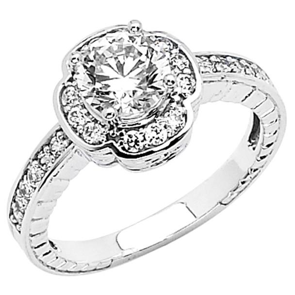 White Gold Engagement Ring - 14K  4.5 gr. - RG52