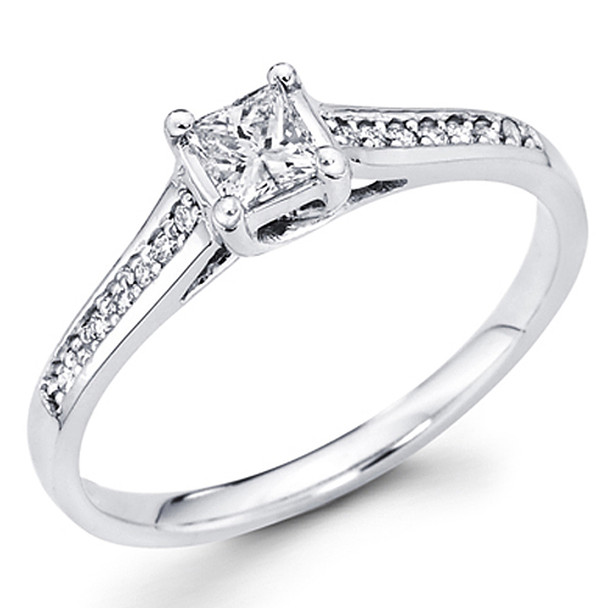 White or Yellow Gold Engagement Ring - 14K - 0.35 Ct - DRG41