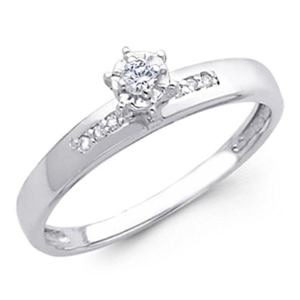 White Gold Engagement Ring 14K  0.09 Ct - DRG7E