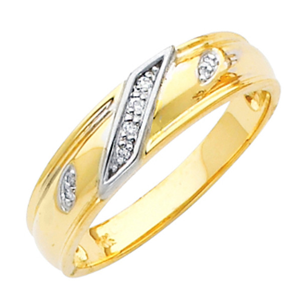 Yellow gold wedding band with Diamonds - 14K  0.05 Ct - DRG4G