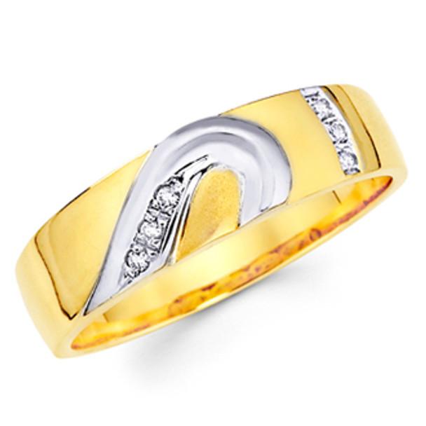 Yellow gold wedding band with Diamonds - 14K  0.06 Ct - DRG1G