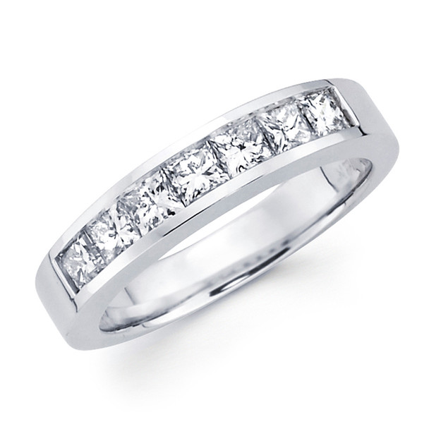 White gold wedding band with diamonds - BD5-13