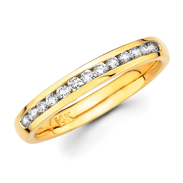 Yellow gold wedding band with diamonds - BD4-5