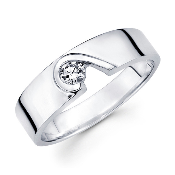 White gold wedding band with diamonds - BD1-21