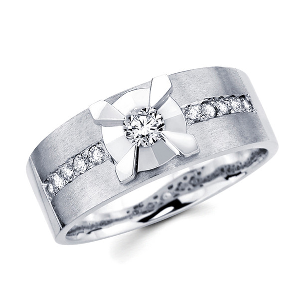 White gold wedding band with diamonds - BD1-5