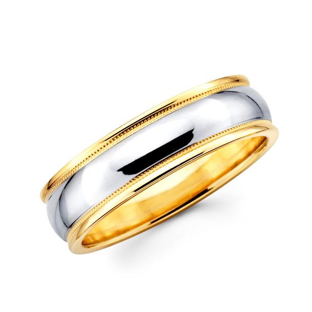 Yellow & white gold wedding band  - BC1-11