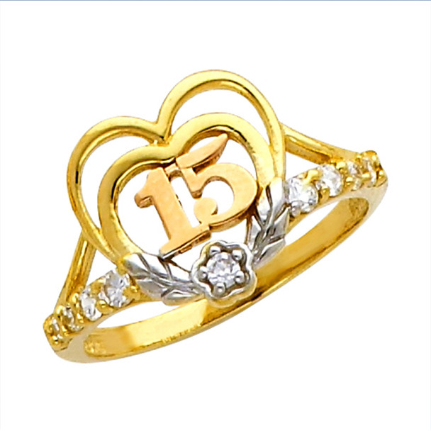Forever 15 - Yellow / White Gold Ring - CZ. 14K - 2.3 gr - RG659