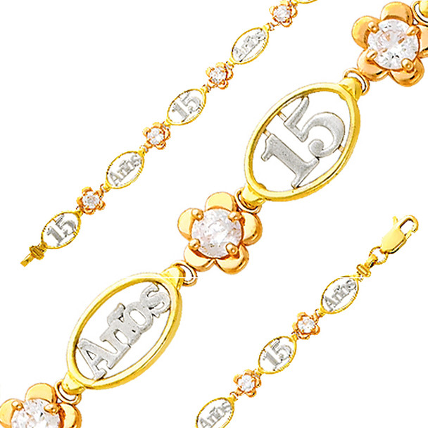Forever 15 - Yellow / White / Red Gold Bracelet - 6.7 gr - AB158
