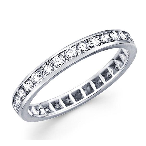 White gold wedding band with diamonds - 14 K - BD5-2