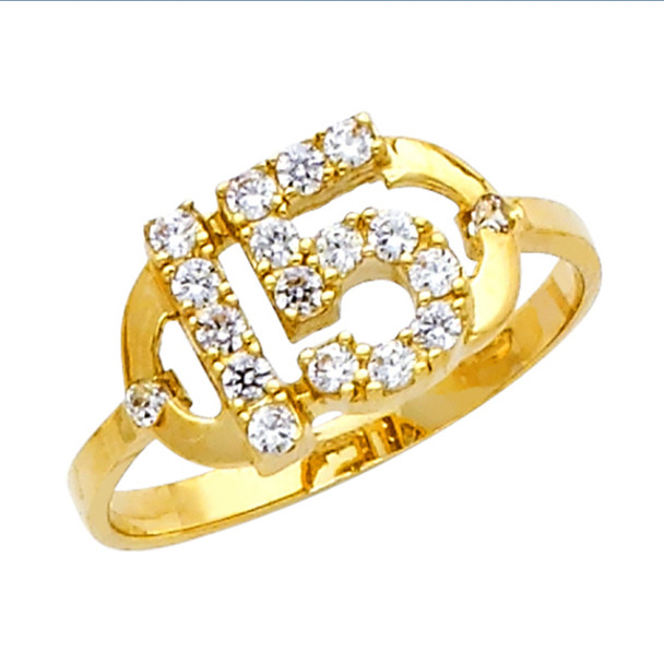 Forever 15 - Yellow Gold Ring with CZ - 2.3 gr - RG673