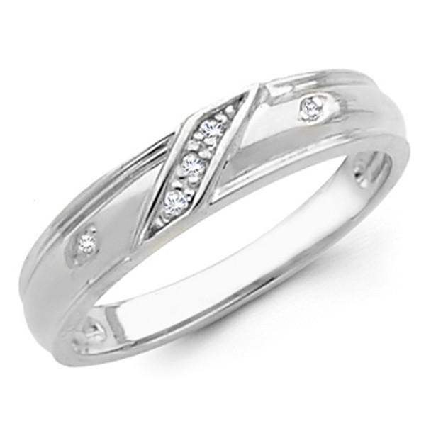 White gold wedding band with Diamonds - 14K  0.05Ct - DRG11B