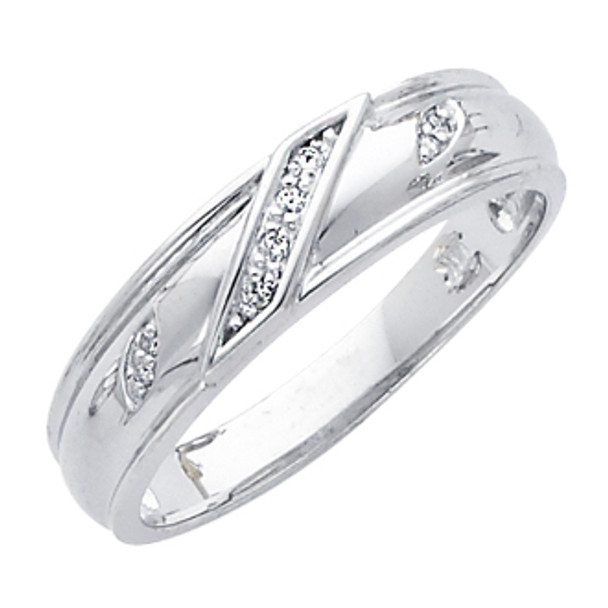 White gold wedding band with Diamonds = 14K  0.05 Ct - DRG11G