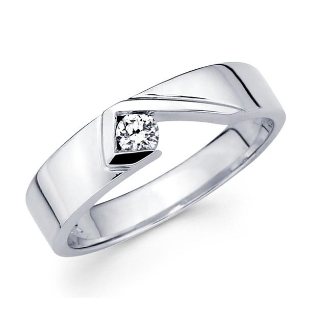 White gold wedding band with diamonds - BD1-24