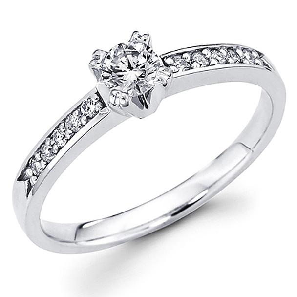 White Gold Engagement Ring - 14K - 0.37 Ct - DRG56