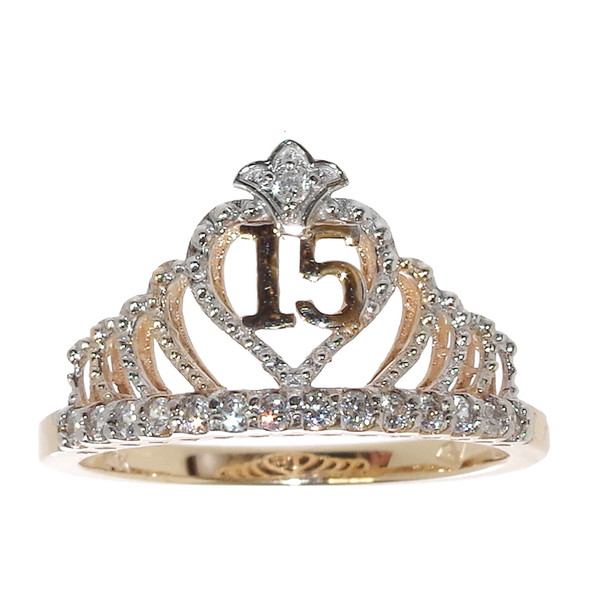 Forever 15 -  Gold Ring decorated with CZ - XVR-701
