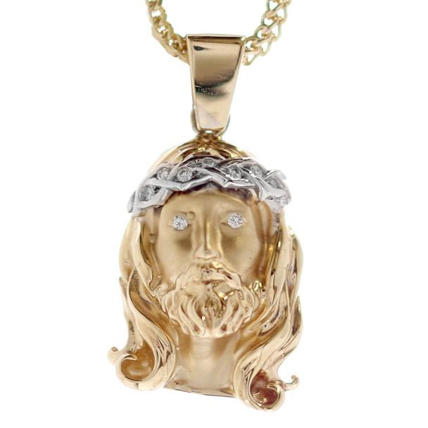 Jesus 14K Gold & Diamonds Pendant - MRD-201