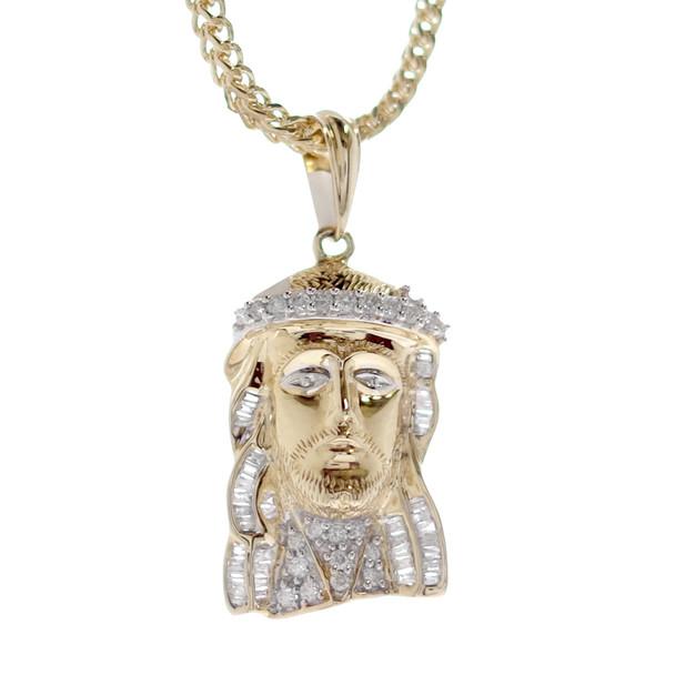 Jesus 14K Gold & CZ Pendant - MRD-202