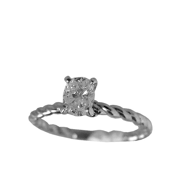 White Gold Engagement Ring - 14K - ERB-504