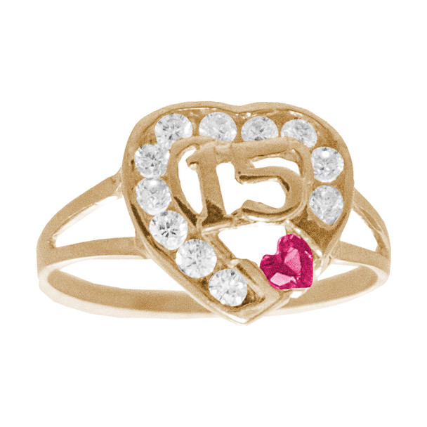 Forever 15 - Yellow Gold Ring with CZ - XVR-735