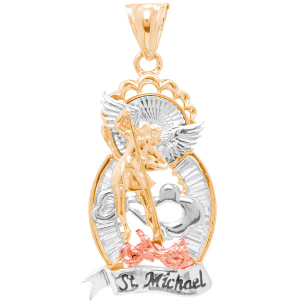 St Michael Medal - 3 Gold / CZ - 14K - 11.3 Gr. - MRD-416