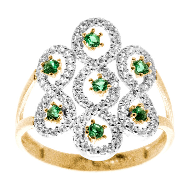 Yellow gold ring with white gold and green stones