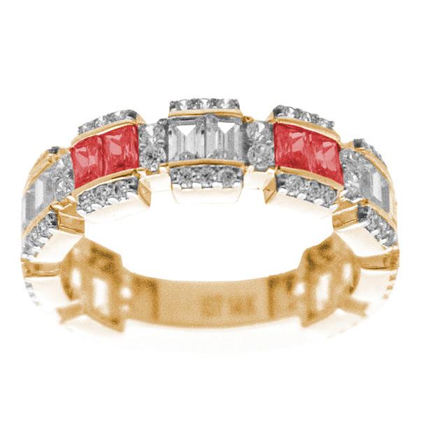 Yellow / White Gold Ring - CZ - 14 K - RGO-215B