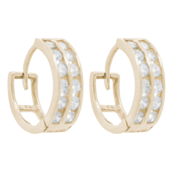 Yellow Gold Earrings - CZ - 14 K - ER354
