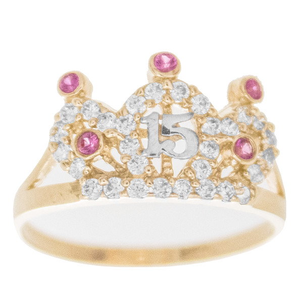 Forever 15 - Yellow Gold Ring with CZ - XVR742