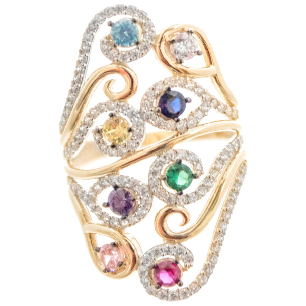 Yellow  Gold Ring - CZ - 14 K - RGO254