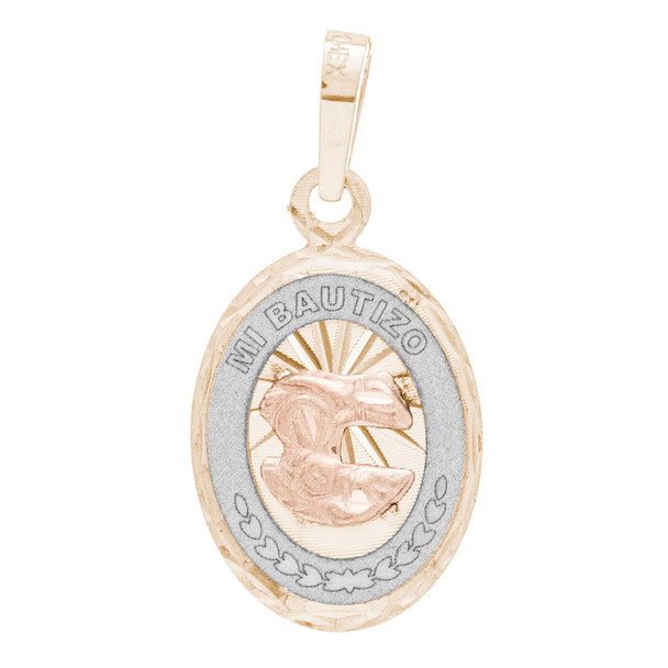 Yellow / White / Red Gold Baptism Medal - 14 K - BPT669