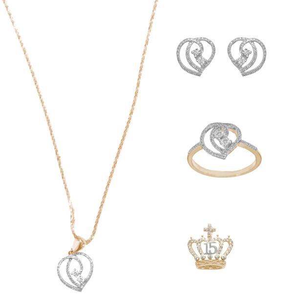 Necklace, pendant, earrings and Bracelet Set  - Yellow Gold - 14 K - JST124