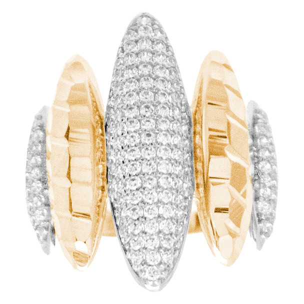 Yellow & White  Gold Ring with CZ - 14 K - RGO262