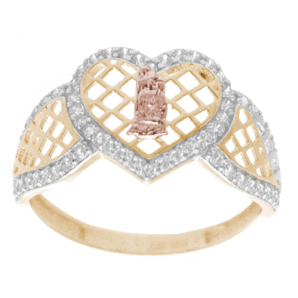 Yellow, Red & White  Gold Ring with CZ - 14 K - RGO263 Virgin Mary
