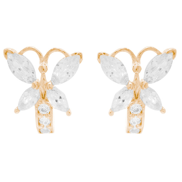 Yellow Gold Earrings with CZ - 14 K  - ER403 Butterfly