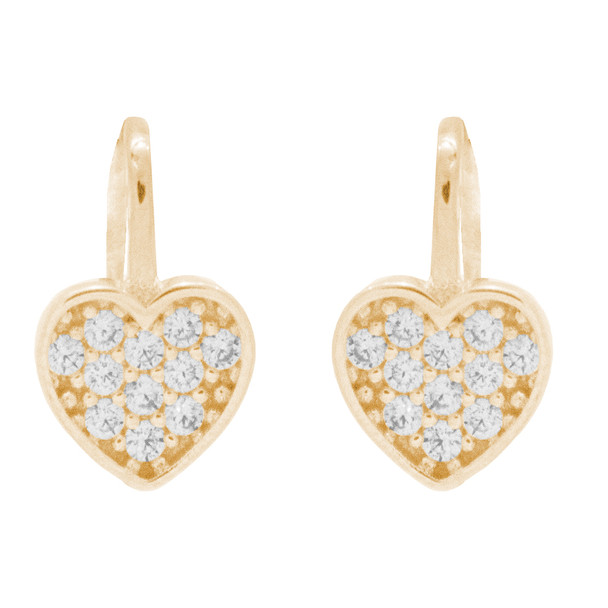 Heart Shaped Yellow Gold Earrings with CZ - 14 K  - ER404
