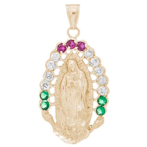 Yellow Gold Virgin Mary Pendant with CZ - 14 K - PTR557  14 K.| 8.1 gr.