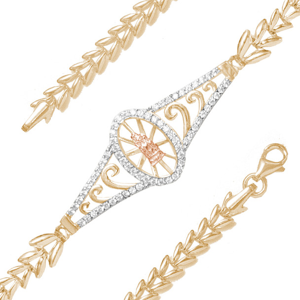 Yellow, White & Red Gold Bracelet  with CZ - 14K - BLG762  Yellow, White & red gold bracelet with a virgin mary decorated with CZ.  14K. | 4.3 gr