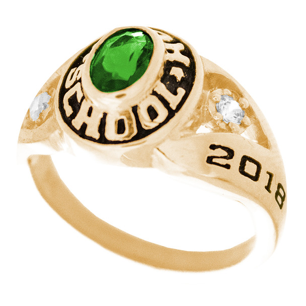 Graduation Ring / Yellow Gold - CZ - GDR170