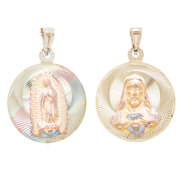 Yellow Gold Medal - 2 Sides - 14 K - RP261  Jesus Christ / Virgin Mary  14 K. | 5.6 gr.