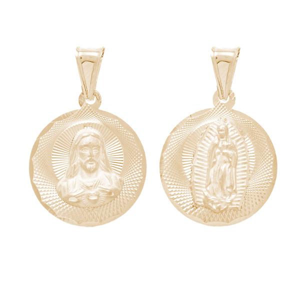 Yellow Gold Medal - 2 Sides - 14 K - RP264  Jesus Christ / Virgin Mary  14 K. | 1.8 gr.