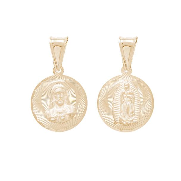 Yellow Gold Medal - 2 Sides - 14 K - RP265  Jesus Christ / Virgin Mary  14 K. | 1.4 gr.