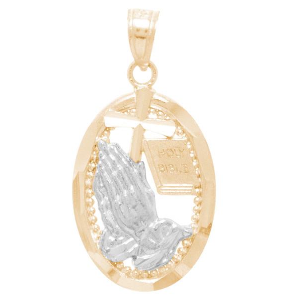 Yellow / White Gold Praying Hands Medal - 14 K - RP270   Praying hands medal for first communion.  14 K. | 1.4 gr.